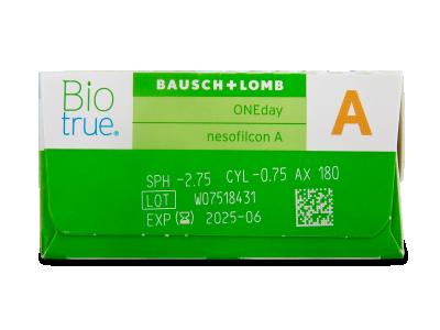 Biotrue ONEday for Astigmatism (30 komada leća) - Pregled parametara leća