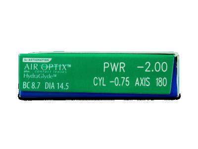 Air Optix plus HydraGlyde for Astigmatism (6 kom leća) - Pregled parametara leća