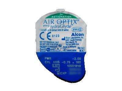 Air Optix plus HydraGlyde for Astigmatism (3 kom leća) - Pregled blister pakiranja