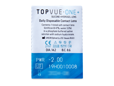 Kontaktne leće TopVue One+ (5 parova leća) - Pregled blister pakiranja