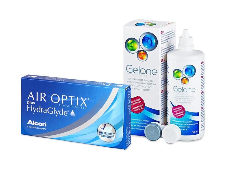 Air Optix plus HydraGlyde (3 kom leća) + Gelone 360 ml