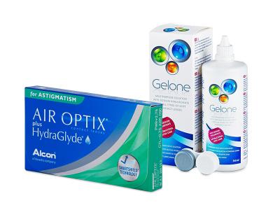 Air Optix plus HydraGlyde for Astigmatism (6 kom leća) + Gelone 360 ml