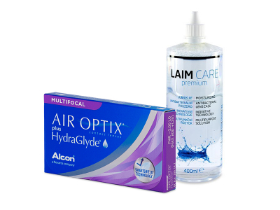 Air Optix plus HydraGlyde Multifocal (6 kom leća) + Laim-Care 400 ml