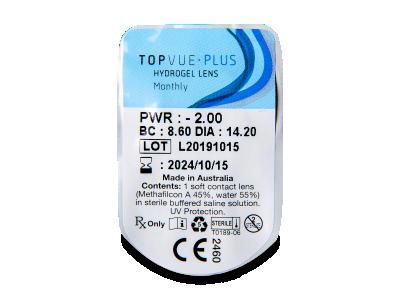 TopVue Plus (1kom leća) - Pregled blister pakiranja