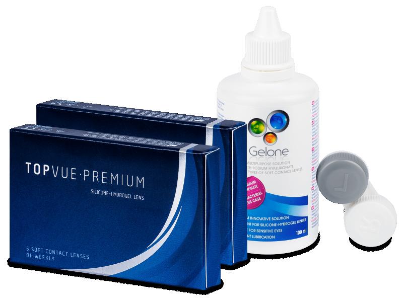 Kontaktne leće TopVue Premium (2 x 6kom leća) + otopina Gelone 100 ml - Ponuda paketa