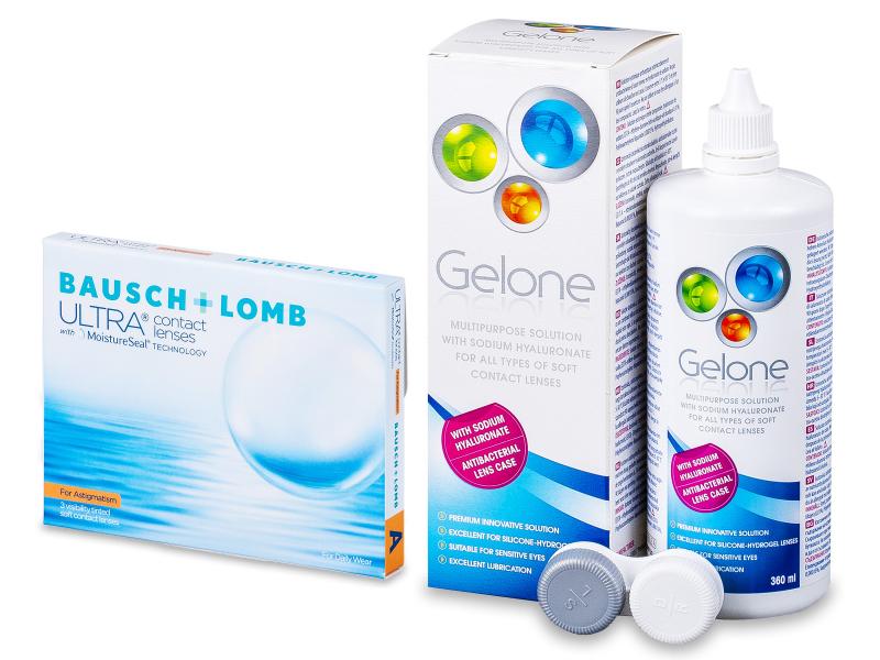Bausch + Lomb ULTRA for Astigmatism(3 kom leća) + Gelone 360 ml - Ponuda paketa