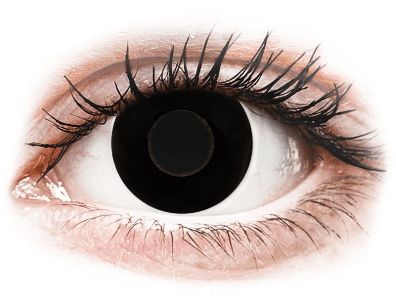 CRAZY LENS - Black Out - jednodnevne leće dioptrijske (2 kom leća) - Kontaktne leće u boji