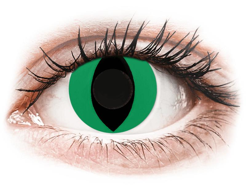 CRAZY LENS - Cat Eye Green - jednodnevne leće bez dioptrije (2 kom leća) - Kontaktne leće u boji
