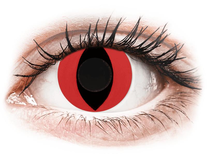 CRAZY LENS - Cat Eye Red - jednodnevne leće bez dioptrije (2 kom leća) - Kontaktne leće u boji