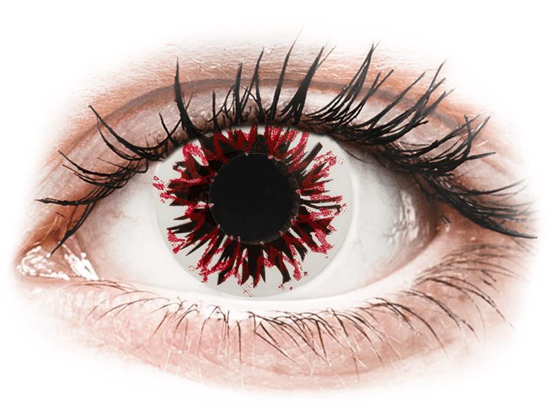 CRAZY LENS - Harlequin Black - jednodnevne leće bez dioptrije (2 kom leća) - Kontaktne leće u boji