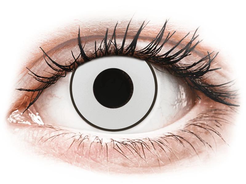 CRAZY LENS - White Black - jednodnevne leće dioptrijske (2 kom leća) - Kontaktne leće u boji