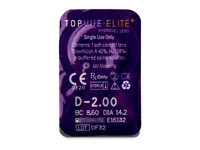 TopVue Elite+ (180 kom leća) - Pregled blister pakiranja