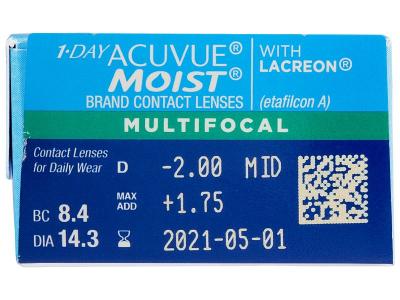 1 Day Acuvue Moist Multifocal (30 kom leća) - Pregled parametara leća