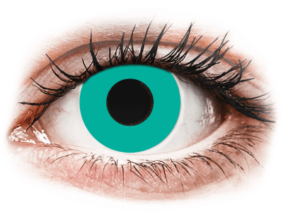 CRAZY LENS - Solid Turquoise - jednodnevne leće bez dioptrije (2 kom leća)