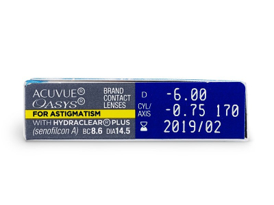 Acuvue Oasys for Astigmatism (6komleća) - Pregled parametara leća