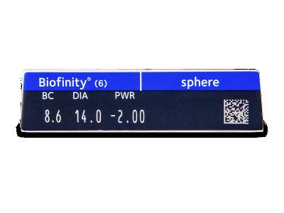 Biofinity (6komleća) - Pregled parametara leća