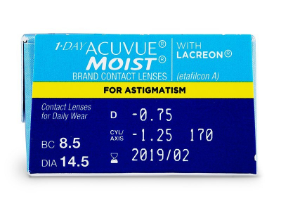 1 Day Acuvue Moist for Astigmatism (30komleća) - Pregled parametara leća